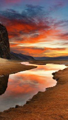 Gobi Desert Sunset, Mongolia  #Gobi #Mongolia http://reversehomesickness.com/asia/gobi-desert/ http://exploretraveler.com http://exploretraveler.net