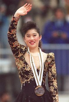 Kristi Yamaguchi wearing her gold medal in Albertville, France in Olympic Athletes, Olympic Sports, Winter Olympic Games, Winter Olympics, Nancy And Tonya, Midori Ito, Professional Ice Skates, Kristi Yamaguchi, Figure Skating Olympics