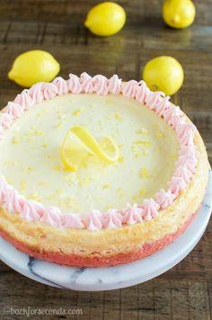 Lemonade Cheesecake with Strawberry Crust