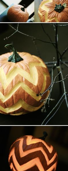 Pumpkin Carving ideas - love the chevron!  I'm not a huge fan of carving anymore since they go bad so quick but this is super cute!