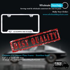 Corvette C5 License Plate Frame - Laser Etched Chrome Cut-Out Frame - Stainless Steel Make Your Order at:  WWW.WHOLESALEKEYCHAIN.COM  Call us at (952) 681-2143  or email us a Sales@WholesaleKeychain.com #keychain #wholesalekeychain #licenceplateframe #moneyclips #trailerhitchlocks #trailerhitchplugs #gift #engraving #caraccessories #ford #toyota #giftshop #cadillac #chevrolet #keyring #dodge #gmc #buick #harleydavidson #nissan #acura #carkeychain #mustang #jaguar #nascar #suzuki #corvette