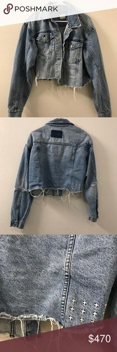 KSBUI DISTRESSED DENIM JACKET Women's cropped denim jacket in size S/M. Very nice denim material, soft and thick! 8/10 condition slight wrinkles. Discontinued item, sold out online Jackets & Coats