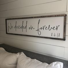 we decided on forever 2.0 above the bed sign FREE | Etsy Bedding Master Bedroom, Bedroom Decor, Bedroom Wall, Bedroom Ideas, Couples Apartment, Bedroom Apartment, Wooden Wedding Signs, Wooden Signs, Black Furniture