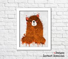 Printable Kids Poster Bear Watercolor Woodland Animal by eDesignss