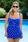 Cute as a button - this twin print polka dot Daphne plus size swimsuit features a shape flattering silhouette in a contemporary take on classic retro style. Ruched midsection and power net lining help highlight your gorgeous curves. As Seen on StyleBlazer.com, PlusModelMagazine.com and PrettyinPigment.com!