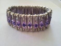 New safety pins bracelet made with Swarovski crystal and flowers