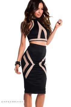 Black Halter Crop Top 2 Piece Dress with Sheer Nude Mesh Cut Outs #Pinyourwish @ShopSexyDresses