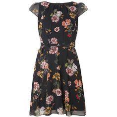 **Billie & Blossom Black Floral Chiffon Dress ($59) ❤ liked on Polyvore featuring dresses, black, floral fit-and-flare dresses, floral fit and flare dress, chiffon dresses, botanical dress and flower printed dress