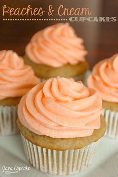 Peaches n' Cream Cupcakes | JavaCupcake.com omg these sound amaze!!!!!!!!!!!!!!!!!!cant wait to try after my moms done with an amaze diet it is called nutrimost