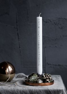 candle counting the days until xmas | Xmas decoration . Weihnachtsdekoration . décoration noël | Broste Copenhagen |