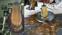 Leaving all her long lovely luscious luxuriant locks on the barbershop floor:)))