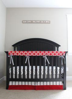 Custom Crib Bedding - Red And Grey Baby Bedding