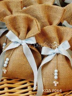 Μπομπονιερες Βαπτισης — Simply perfect Jute, Baptism Favors, Girl Christening, First Communion, Gift Packaging, Handmade Baby, Creative Gifts, Holidays And Events, Reusable Tote Bags