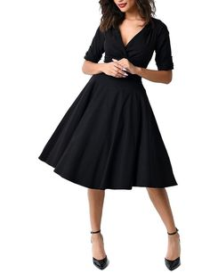 GownTown Womens Dresses V-neck 1950s Vintage Dresses Stretchy Swing Dresses at Amazon Women's Clothing store: