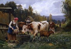 ... 19th century realism cows vaches farm workers peasants working tending