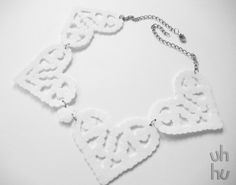 Geeky white heartless collar by UHHU on Etsy, €15.00