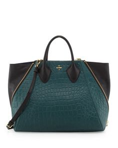 Yves Crocodile Embossed Leather Tote Bag, Jade by Pour la Victoire at Neiman Marcus.