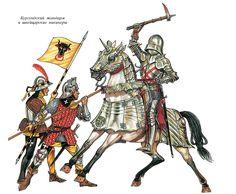 Two Swiss mercenaries battle a German knight