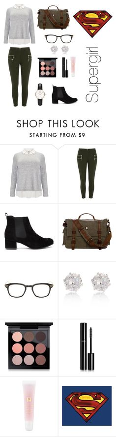 Kara Danvers: Supergirl by sweetsassyandsarcastic ❤ liked on Polyvore featuring Studio 8, River Island, Thom Browne, MAC Cosmetics, Chanel, Lancôme and Daniel Wellington