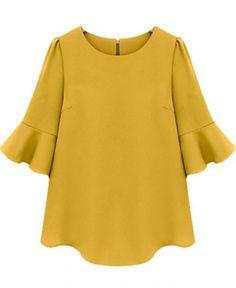 Yellow Ruffle Sleeve Blouse