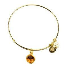 Alex and Ani November Birthstone Yellow Gold Expandable Wire Bangle Bracelet