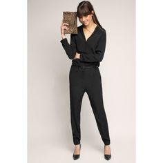 Fließender Overall mit Gürtel für Damen Black