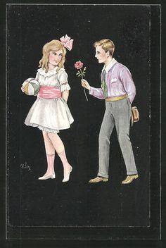 Künstler-AK Willi Scheuermann: Junge schenkt seiner Freundin eine Rose 0