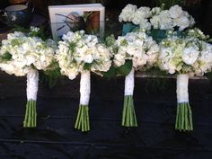 Bridesmaid Bouquets - white hydrangeas, white stock and tree fern