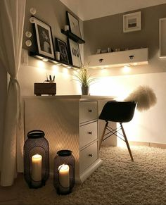 Lovely Bedroom Interior Ideas For Girl Room You Are Looking For Study Room Decor, Teen Room Decor, Room Ideas Bedroom, Small Room Bedroom, Bedroom Decor, Wall Decor, Wall Art, Home Office Design, Home Office Decor
