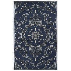 Kaleen Rugs Hand-Tufted Lola Mosaic Navy Medallion Wool Rug (5'0 x 7'9) (5'0 x 7'9), Beige, Size 5' x 7'9