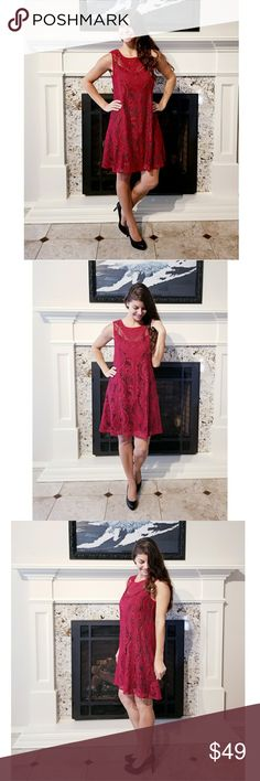 """Infinity Raine Lace Dress This gorgeous fully lined red lace dress is perfect for date night, a Christmas party or even Valentine's Day!  Modeling size S.  Didn't come with tags.  PRICE FIRM UNLESS BUNDLED (10% OFF BUNDLES).  ❤Bust: S-18"""" M-19"""" L-20"""" ❤Length: S-34"""" M-35"""" L-36"""" ❤100% Polyester ❤Hand Wash 🚫PayPal 🚫Trades ☄I no longer thank my wonderful customers in the comments after a purchase just in case they are buying a gift. Please know I appreciate you!☄ Infinity Raine Dresses"""