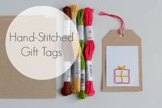 Embroidered Hand-Stitched Gift Tags @Make and Takes.com