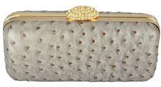 Bolsa Clutch Avestruz Prata e Dourado. Bolsa de Mão elegante ideal para compor look para festa e social.