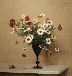 """Henri Fantin-Latour """"Chrysanthemums"""" c. 1889"""
