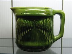 Antique 1912 McCoy Pottery AVENUE of TREES Green Pitcher by nanberrysoda $40