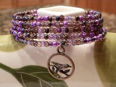 Memory wire purple glass beads seed beads  by SusansBeadGarden, $12.50