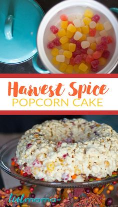 Harvest spice popcorn cake.  Perfect for fall, Halloween and Thanksgiving…