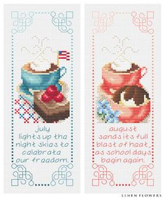 """Coffee & Treats Monthly Bellpull Series (July And August)- #215 Treat yourself to your favorite coffee while enjoying our monthly Bellpull series for your kitchen! The text on the July Bellpull says, """"July lights up the night skies to celebrate our freedom."""" The text on the August Bellpull reads, """"August sends its full blast of heat, as school days begin again."""" Design Size: 39 w x 111 h. Designs use DMC Floss. Use a Fabric Calculator to determine finished size on your favorite fabric. White…"""