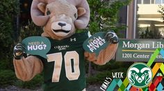 CAM the Ram helps #ColoradoState students get through finals week with hugs and high fives.
