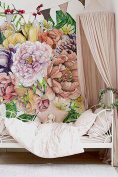 Floral Bedroom Decor, Interior Walls, Interior Design, Slanted Ceiling, Wallpaper Samples, Tropical Paradise, Floral Wall, Commercial Interiors, Peel And Stick Wallpaper