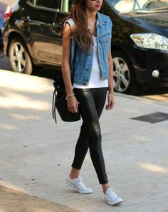 jean vest, leather leggings, runners