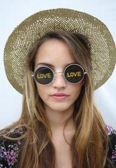 90's 'Love' Round Lennon Sunglasses