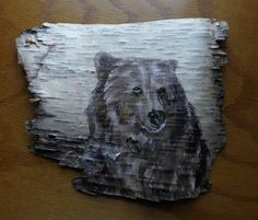 Grizzly Bear Hand Painted on Birch Bark. $45.00, via Etsy.