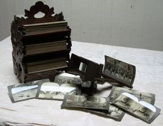 Antique stereoscope viewer and 3 tiered by lockedesignstudios, $975.00
