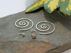Spiral earring and nose stud collection - Sterling silver