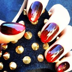 oxblood ombre nails