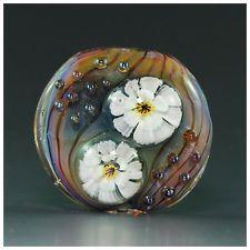Ikuyoglassart Handmade Lampwork Flower Focal Glass Bead  SRA