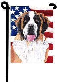 Saint Bernard Patriotic USA American Garden Flag Garden Flag by CTI. $14.99. The Garden size flag is made from a 100% polyester material. Two pieces of material have been sewn together to form a double sided flag. This allows the text and image to be seen the same from both sides. This flag is fade resistant and weather proof. The flag measures approximately 11 inches x 15 inches (garden stand sold separately)