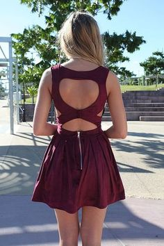 Wine Red Heart Cutout Homecoming Dress , Fitted Bodice & Pleated Prom Skirt,Zipper Back Party Dress For Prom