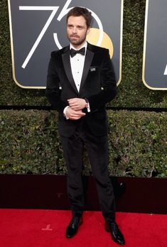 Sebastian Stan at the 75th Golden Globes wearing black in support of sexual harassment victims